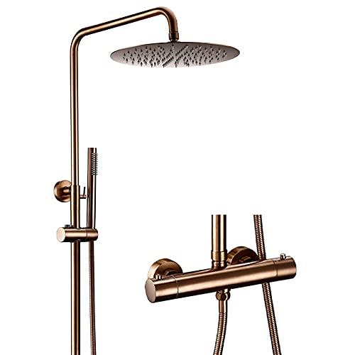 Sistema de ducha de oro rosa con cabezal de ducha tipo lluvia y ducha de mano Termostato de latón macizo Juego de grifos de ducha Sistema de cabezal de ducha tipo lluvia para montaje en pared, 8 pulg