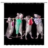 DODOUNA Lovely Bird Pet 3D Duschvorhänge Maus Kunst H& Druck Badezimmer 3D Duschvorhänge Wasserdicht Polyester Stoff Badvorhang 180 x 180 cm