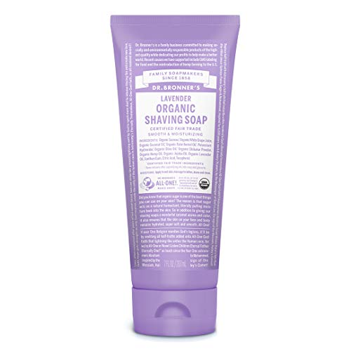 Dr. Bronner's - Organic Shaving Soap (7 Ounce) - Certified Organic, Sugar and Shikakai Powder, Soothes and Moisturizes for Close Comfortable Shave, Use on Face, Underarms and Legs (Lavender)