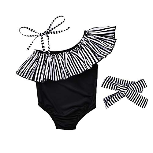 Baby Girl Hawaiian Ruffles Bikini One-Piece Swimsuit Beach Bathing Suit Floral Swimwear+Headband 2 Pcs Set (Black Strips, 6-12 Months)