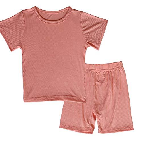 JWWN Toddler Girls Boys Short Sleeve Pajamas Set Little Kids Sleepwear 2 Piece Summer Loungewear (Pink,4T)
