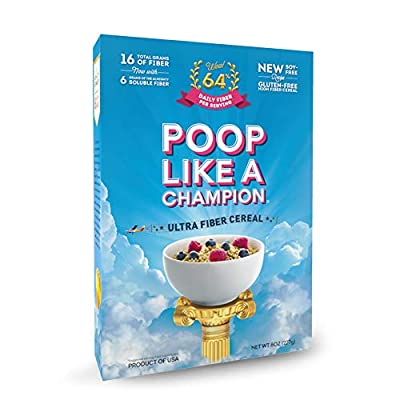 Poop Like A Champion High Fiber Cereal, Low Carb, Keto Friendly, Clean Label, Gluten Free Cereal - 0% Gluten, 9g Net Carbs, 16g Fiber per bowl - PARENT