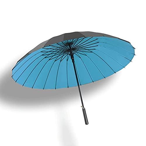 BaiJaC Paraguas automático, Súper Negro, Refuerzo a Prueba de Viento, 24 Costillas, Doble Capa, 210T, 45'Palo de Palo Golf Paraguas Men & Womengift (Color : Light Blue, Size : 45.3 Inches)
