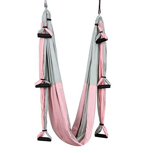 ZHAONAA Peut accueillir Plus de Personnes Plein 6 Poignée Anti-gravité aérienne Yoga Hamac Sac de Transport Pratique (Color : Pink)