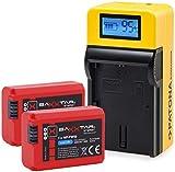 Baxxtar Set - (2X) Compatible avec Batterie Sony NP-FW50 (1080mAh) et Chargeur LCD 5en1 | Sortie USB pour Charger Un troisième Appareil Que Smartphone …