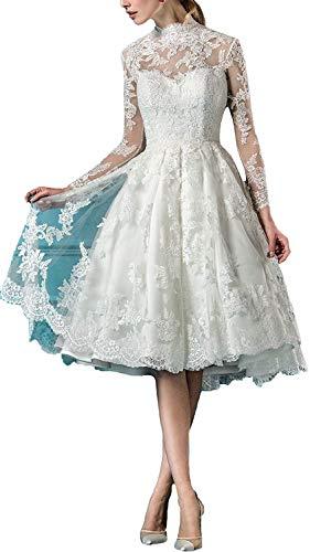 iluckin Damen Hochzeitskleider Kurz Spitze Tüll Langarm Brautkleider Schlüsselloch Große Größen Weiß Partykleid Abendkleid