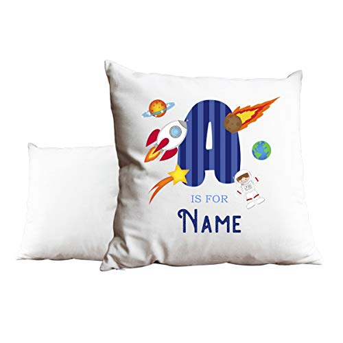 Duke Gifts Personalised Alphabet Space Rocket White Cushion Add any Name and Letter Gift Idea Boys Childrens