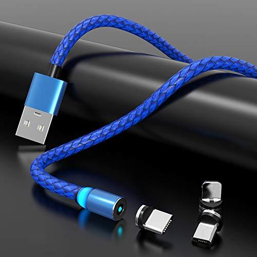 Chnrong Cable de carga magnético, cable magnético de datos de cabeza redonda, cargador de teléfono 2.4A, cable magnético USB 3 en 1 tipo C de carga rápida para iPhone, Huawei, Samsung, Android