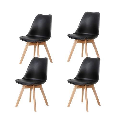 Lucky Factory Lot de 4 chaises de Salle à Manger scandinaves Chaise Tulipe, Chaise de Cuisine Salle à Manger Design rembourrée,Pieds en Bois de hêtre Massif(Noir)