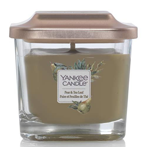 Yankee Candle Elevation Collection con Coperchio della Piattaforma Candela Quadrata a 1 Stoppino, Pera e Foglie di tè, Piccolo