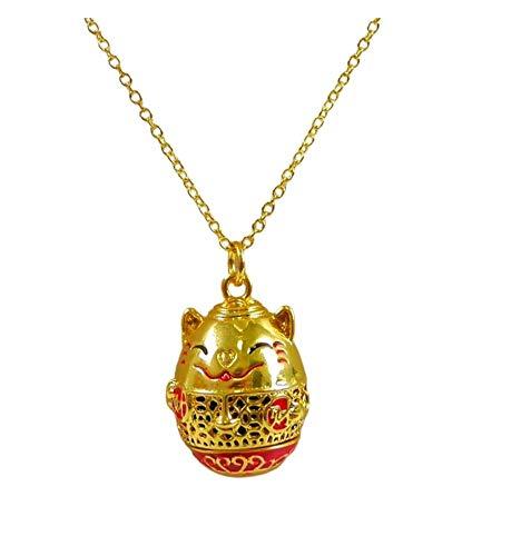 Coco Papaya - Collar de aromaterapia con colgante difusor de perfume Maneki Neko dorado