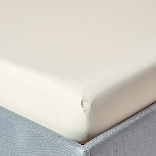 Homescapes Spannbettlaken vanille/Creme Spannbetttuch für Matratzengröße 180 x 200 cm, 100% ägyptische Baumwolle Fadendichte 200 Perkal-Bettlaken