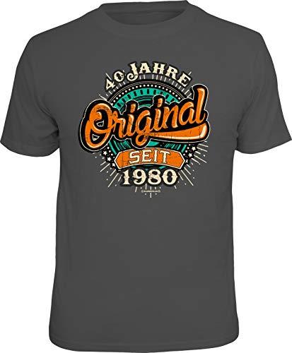 Herren Geburtstag T-Shirt - 40 Jahre Original seit 1980 - lustige Shirts 4 Heroes Geschenk-Set Bedruckt mit Urkunde