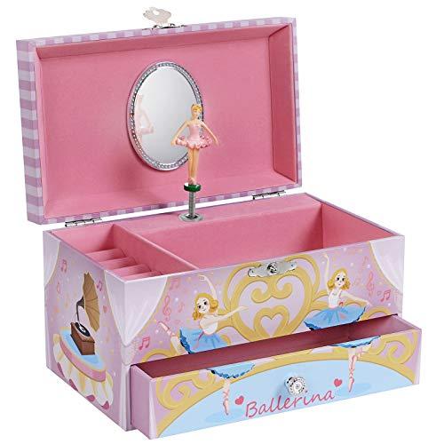 SONGMICS JMC012P03 - Caja de música con cajón, ruedas para anillos y varios compartimentos, melodía del lago de cisne, diseño de bailarina, color rosa