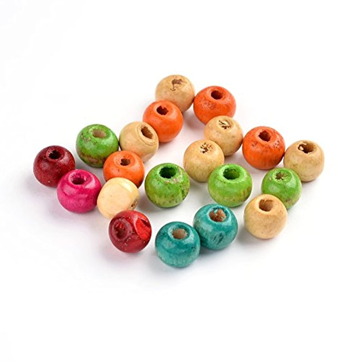 PEPPERLONELY Brand 8mm - 10mm Mixed Round Wood Beads 3mm Hole 3200PCS Over 1 lb/Bag