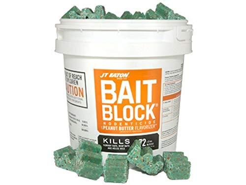 JT Eaton Bait Block Rodenticide Anticoagulant Bait, Pail of 144, 1oz. Blocks, Rat and Rodent Poison
