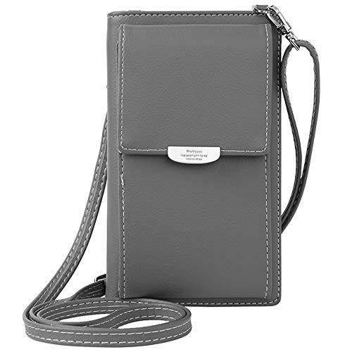 WANYIG Frauen Brieftasche Cross-Body Tasche PU Leder Handy Schultertasche Kleine Damen Geldbörse Handy Mini-Tasche Kartenhalter Umhängetasche(Grau)