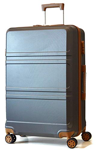 DK Luggage Lightweight ABS Hardshell Large 28' Suitcase 4 Wheel Spinner with Tan Trimming Grey