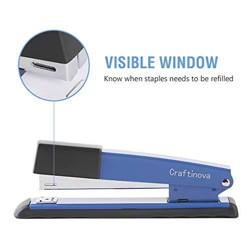 Craftinova Stapler,Office Stapler,Durable Metal Stapler ,20 Sheet Capacity,Includes 2000 Staples & Stapler Remover,3PACK,for Office or Home Office Supplies, Blue…… Photo #5