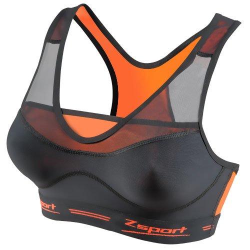 ZSPORT Virtuosity Sujetador Deportivo, Mujer, Negro/Naranja, 95B