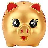 DIYARTS Golden Tirelire Shredding-Proof Coin Jar Boîte d'épargne d'argent Chanceux Fortune Cochon Tirelire Grand Cadeau pour Garçons Filles (Medium)