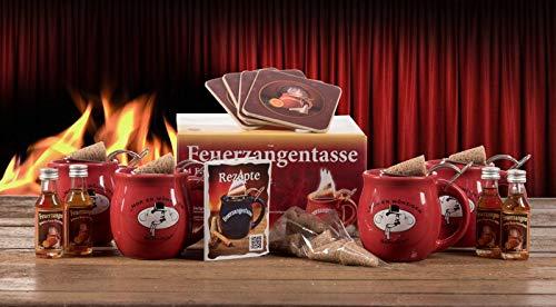 Feuerzangentasse 4er-Set, Rot/Rühmann Schlock, mit Rum - für Feuerzangenbowle