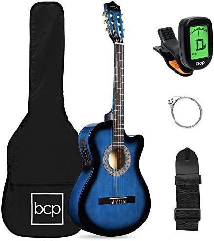 Best Choice Products Beginner Acoustic Electric Guitar Starter Set 38in w All Wood Cutaway Design product image