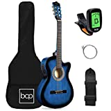 Best Choice Products Beginner Acoustic Electric Guitar Starter Set 38in w/All Wood Cutaway Design, Case, Strap, Picks, Tuner - Blue