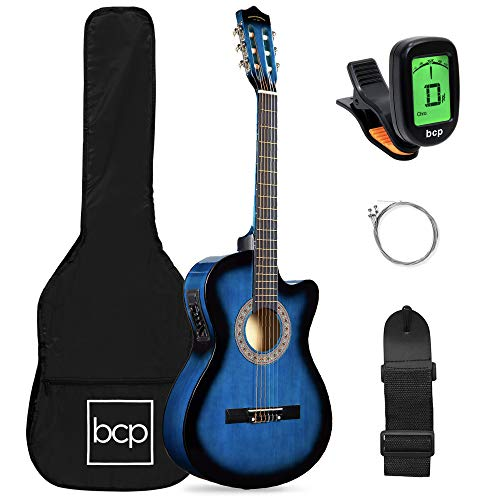 of acoustic guitar brand for beginners Best Choice Products Beginner Acoustic Electric Guitar Starter Set 38in w/All Wood Cutaway Design, Case, Strap, Picks, Tuner - Blue