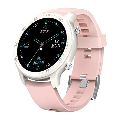 """Smart Watch for Women,YIRSUR IP68 Waterproof Always-on 1.3"""" Touch Screen Fitness Tracker, Heart Rate Recorder Step Counter, Sleep Monitor for Android Phones and iPhone (Pink)"""