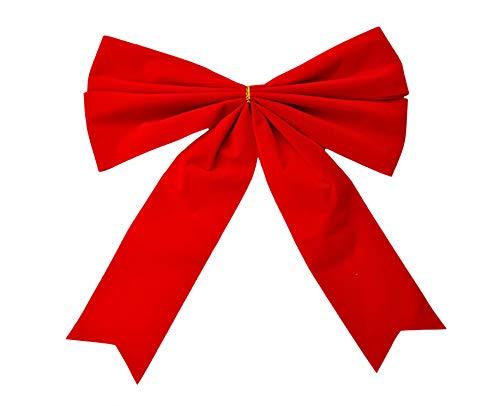 Helmecke & Hoffmann * 1 rote samtige Zierschleife Dekoschleife Weihnachtsbaum-Deko Weihnachtsdeko Geschenkdeko, ca. 27 x 29 cm