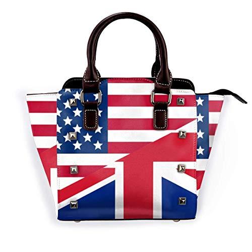 US UK Flag Fashion Studded Tote Bag for Women PU Leather Rivet Shoulder Bag Crossbody Purse
