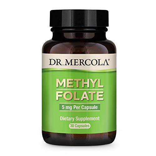Dr. Mercola, Methyl Folate Dietary Supplement, 30 Servings (30 Capsules), Non-GMO, Soy-Free, Gluten Free