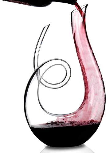 AJMINI Tianluo Crystal Wine Decanter - 100% Hand Geblazen Loodvrij Glas - Stevige rode wijn karaf Pitcher Aerator Pourer, 1500ML