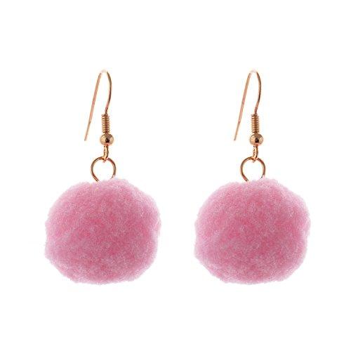 Lureme Lovely Handmade Pom Pom Earrings with Fish Hook-Lightweight Pink (er005415-6)
