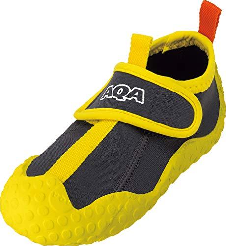 AQA(エーキューエー) マリンスポーツ ジュニア スノーケリングシューズ グレー×イエロー 21cm KW-4473N