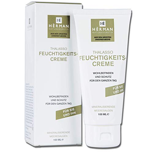 HÈRMAN Feuchtigkeitscreme Gesichtscreme Frauen und Männer Hautpflege aus Algen – Naturkosmetik Vegan Made in Germany 100 ml – Pflegende, beruhigende, feuchtigkeitsspendende Creme