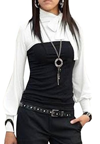 Mississhop Kd. 120 Japan Style Boho Style Bluse 2 in 1 Optik Tunika Longshirt Schwarz-Weiß S