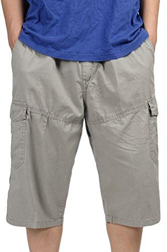 Heheja Pantaloncini da Uomo 3/4 Bermuda Cargo Shorts Pantaloni Larghi Corti Cachi 6XL