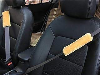 HLZDH 1 Paar Gurtpolster Auto Sicherheitsgurt Bügel Gurtschutz, Gurtpolster Schulterpolster Soft Faux Lammfell Schlafkissen Nackenstütze für Kinder (braun)