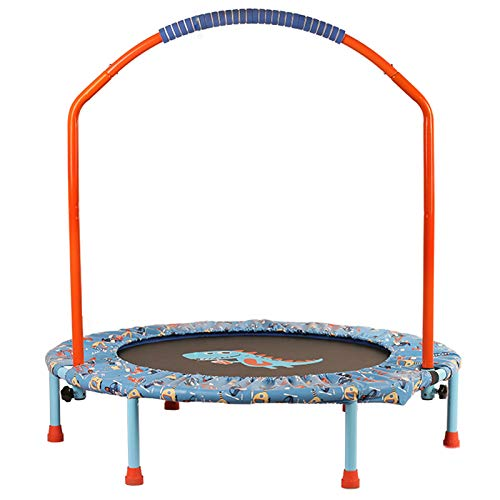 40-Inch Kids Trampoline Little Trampoline with Adjustable Handrail and Safety Padded Cover Mini Foldable Bungee Rebounder Trampoline Indoor/Outdoor (Color : Orange)