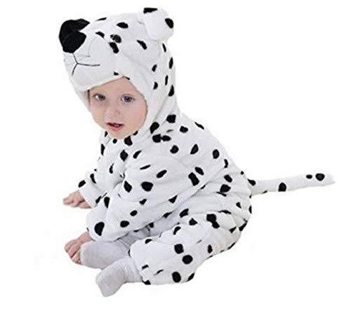 PICCOLI MONELLI Pigiama pigiamone Dalmata Bambina Bambino Senza Piedini in Pile Adatto Anche Come Costume o tutone Caldo di Carnevale tg 100 cm