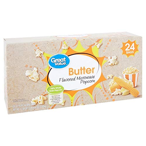 Learn More About Great Value Butter Flavored Microwave Popcorn, 2.40 Oz., 24 Count (Pack of 4)