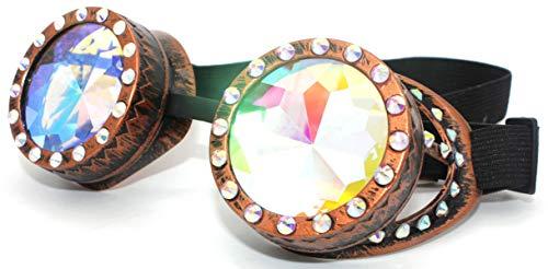 4sold occhiali da sole Steampunk, Antique, Copper, Cyber, Goggles, Rave, Goth, Vintage, Victorian, Donna, b-1, Diamond Copper Kaleidoscope, Universale