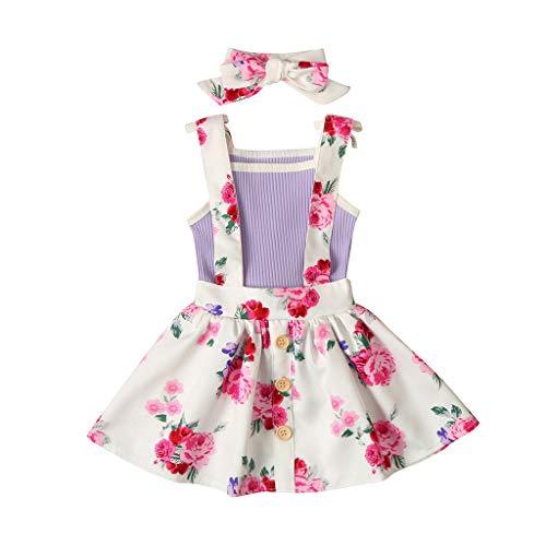 Baby Mädchen Kleidung Set Kleinkind Ärmellos Feste Strampler Tops + Blumenriemen Rock + Haarband Outfits Set, Violett, 6-12 Monate