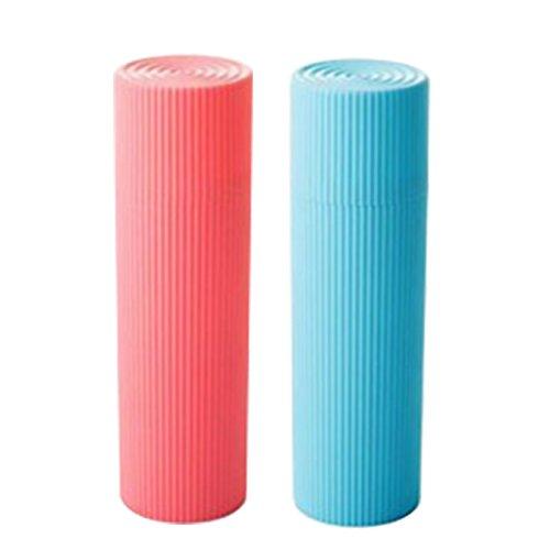 UOOOM 2 Pcs Coloré Tasse de Voyage Rangement Etui pour Brosse à Dents Dentifrice (Bleu et Rose)