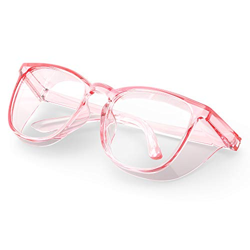 Stylish Safety Glasses, Clear Anti-Fog Anti-Scratch Protective Glasses For Men And Women (Pink)