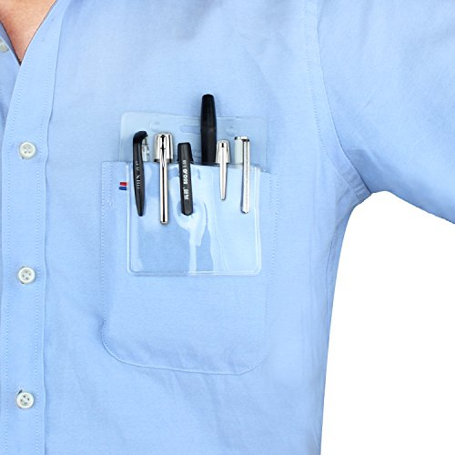 Wisdompro 5 Pack Clear Heavy Duty Pocket Protector for Shirts, Lab Coats, Pants - Multi-Purpose; Holds Pens, Pointers, Cards, and Notes. Top is Pre-Slotted for Lanyard & Has Holes for Nametag