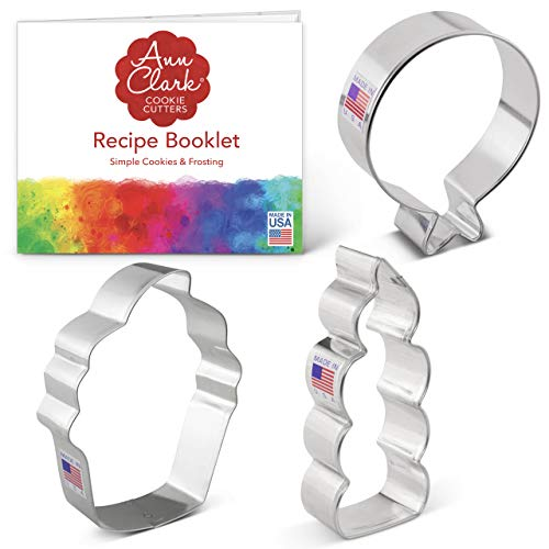 Ann Clark Cookie Cutters 3-Piece Birthday Cookie Cutter Set with Recipe Booklet, Balloon, Cupcake and Candle