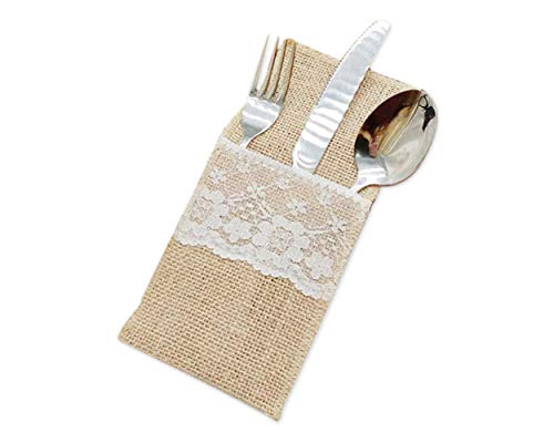 DS. DISTINCTIVE STYLE 4 x 8 Inch Natural Burlap Lace Utensil Holders 50 Pack Silverware Holders Spoon Forks Napkin Pouch Wedding Table Decoration Perfect for Bridal Shower, Christmas Party